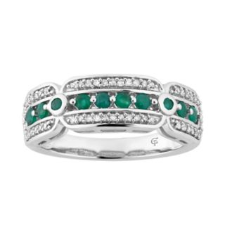 10k White Gold Emerald & 1/5 Carat T.W. Diamond Ring