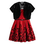 Girls 7-16 & Plus Size Knitworks Flocked Dress & Faux Fur Shrug with Belt