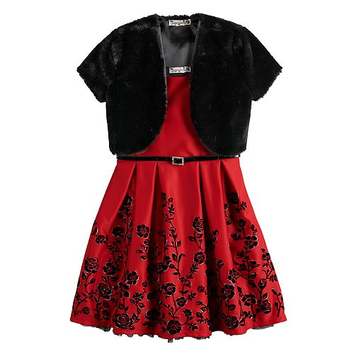Girls 7-16 & Plus Size Knitworks Flocked Dress & Faux Fur Shrug with Belt