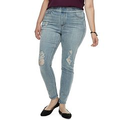 Juniors' Plus Size Indigo Rein MidRise Pull-On Jeggings