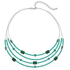 Napier Filigree Green Bead Multi Strand Necklace
