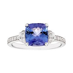 14k White Gold Cushion Cut Tanzanite & 1/5 Carat T.W. Diamond Ring