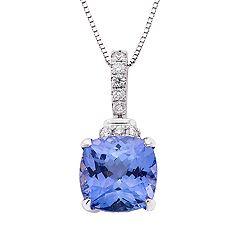 14k White Gold Tanzanite 1/8 Carat T.W. Diamond Pendant Necklace