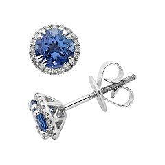 14k White Gold Tanzanite 1/5 Carat T.W. Diamond Stud Earrings