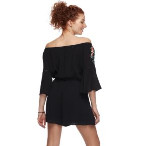 Juniors' Love, Fire Embroidered Off-the-Shoulder Romper