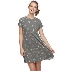 Juniors' Love, Fire Printed Ribbed Pocket Tee Dress