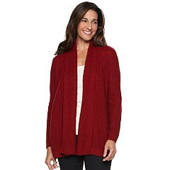Petite Croft & Barrow® Ring Stitch Open Front Cardigan