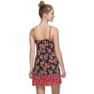 Juniors' Trixxi Tie-Front Floral Swing Dress