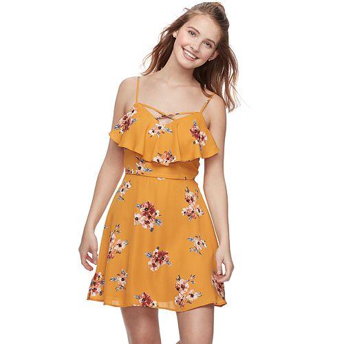 Juniors' Trixxi Ruffled Floral Skater Dress