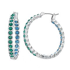 Napier Simulated Crystal Inside Out Hoop Earrings