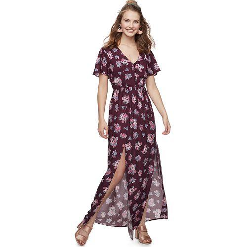 885522fc345f Juniors  Three Pink Hearts Floral Maxi Dress