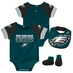 Baby Philadelphia Eagles 50 Yard Dash Bodysuit, Bib & Booties Set