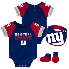 Baby New York Giants 50 Yard Dash Bodysuit, Bib & Booties Set