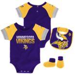 Baby Minnesota Vikings 50 Yard Dash Bodysuit, Bib & Booties Set