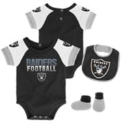 Baby Oakland Raiders 50 Yard Dash Bodysuit, Bib & Booties Set