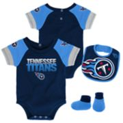 Baby Tennessee Titans 50 Yard Dash Bodysuit, Bib & Booties Set
