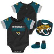 Baby Jacksonville Jaguars 50 Yard Dash Bodysuit, Bib & Booties Set