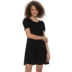Juniors' Love, Fire Ruched Sleeve Ribbed Swing Dress