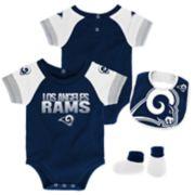 Baby Los Angeles Rams 50 Yard Dash Bodysuit, Bib & Booties Set