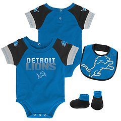 Baby Detroit Lions 50 Yard Dash Bodysuit, Bib & Booties Set