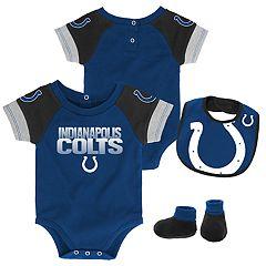 Baby Indianapolis Colts 50 Yard Dash Bodysuit, Bib & Booties Set