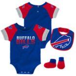 Baby Buffalo Bills 50 Yard Dash Bodysuit, Bib & Booties Set