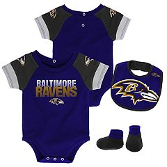 Baby Baltimore Ravens 50 Yard Dash Bodysuit, Bib & Booties Set