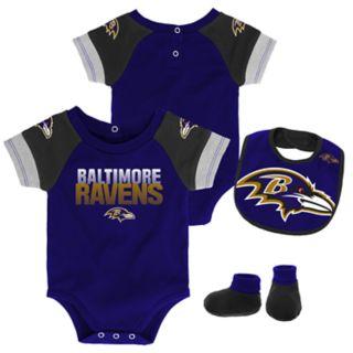 Baby Baltimore Ravens 50 Yard Dash Bodysuit, Bib & Booties Set