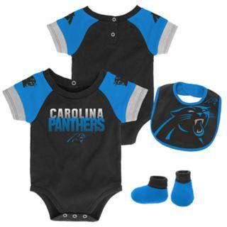 Baby Carolina Panthers 50 Yard Dash Bodysuit, Bib & Booties Set