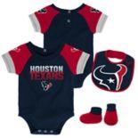 Baby Houston Texans 50 Yard Dash Bodysuit, Bib & Booties Set