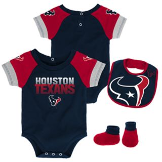Baby Houston Texans 50 Yard Dash Bodysuit, Bib & Booties Set