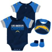 Baby Los Angeles Chargers 50 Yard Dash Bodysuit, Bib & Booties Set