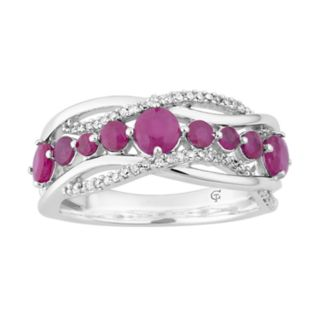 10k White Gold Ruby & 1/6 Carat T.W. Diamond Wave Ring