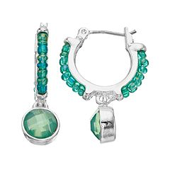 Napier Green Hoop Drop Earrings