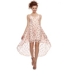 Disney Princess Juniors' Floral High-Low Lace Party Dress