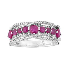 10k White Gold Ruby & 1/3 Carat T.W. Diamond Wave Ring