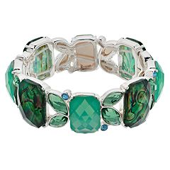 Napier Silver Tone Simulated Crystal Stretch Bracelet