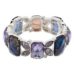 Napier Silver Tone Simulated Crystal Stretch Bracelet