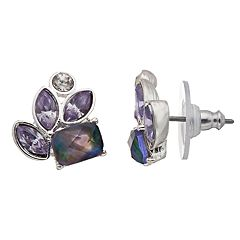 Napier Simulated Stone Cluster Stud Earrings