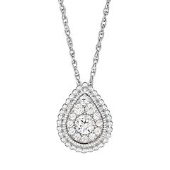 10k White Gold 1/4 Carat T.W. Diamond Teardrop Pendant Necklace