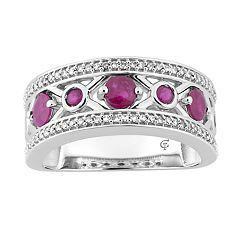 10k White Gold Ruby & 1/5 Carat T.W. Diamond 'X' Ring