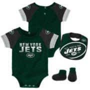 Baby New York Jets 50 Yard Dash Bodysuit, Bib & Booties Set