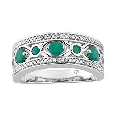 10k White Gold Emerald & 1/5 Carat T.W. Diamond 'X' Ring