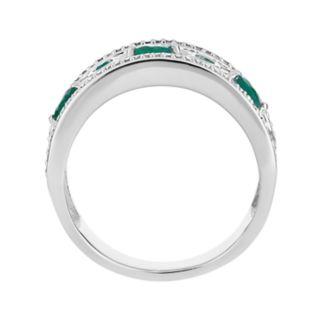 "10k White Gold Emerald & 1/5 Carat T.W. Diamond ""X"" Ring"