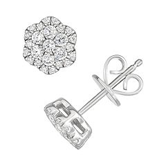 10k White Gold 1/2 Carat T.W. Diamond Flower Cluster Stud Earrings
