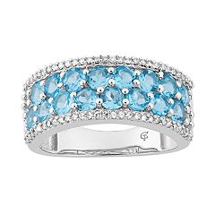 10k White Gold Swiss Blue Topaz & 1/4 Carat T.W. Diamond Ring