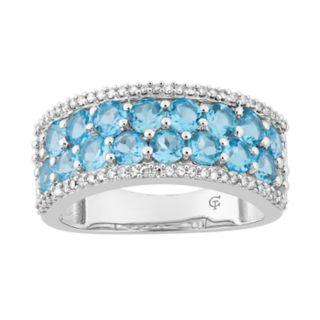 10k White Gold Swiss Blue Topaz & 1/4 Carat T.W. Diamond Ring