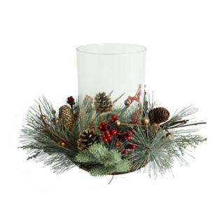 St. Nicholas Square® Artificial Pine Hurricane Candle Holder