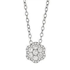 10k White Gold 1/3 Carat T.W. Diamond Flower Pendant Necklace