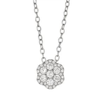 10k White Gold 1/3 Carat T.W. Diamond Flower Pendant Necklace